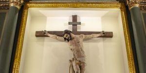 Il crocifisso di vespasiano genuino, esposto nel santuario del crocifisso a rutigliano, bari
